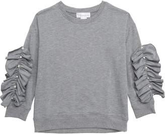 Cotton Emporium Ruffle Sleeve Sweatshirt