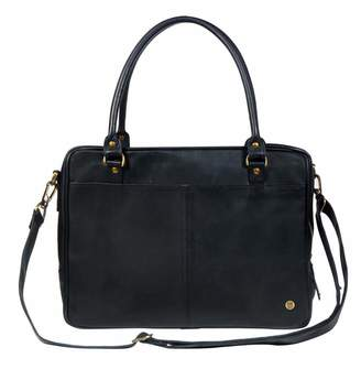 "Mahi Leather Leather Oxford Zip-Up Satchel Briefcase Bag With 15"" Laptop Capacity In Black"