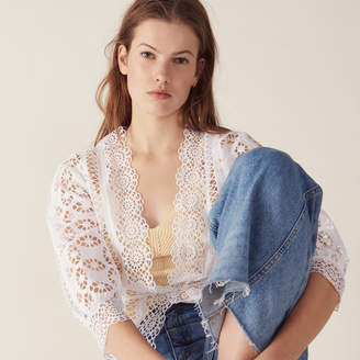 Sandro Lace Blouse With 3/4 Length Sleeves