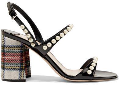 Miu Miu - Faux Pearl-embellished Patent-leather And Tartan Tweed Sandals - Black