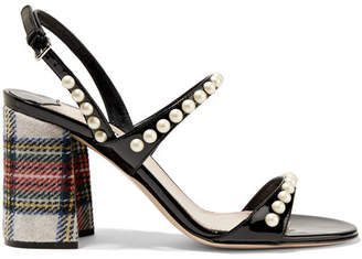 Faux Pearl-embellished Patent-leather And Tartan Tweed Sandals - Black