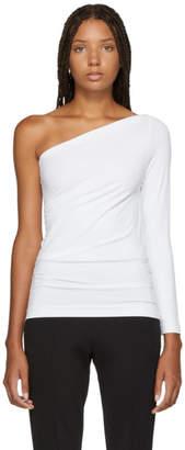 Helmut Lang White One Shoulder T-Shirt
