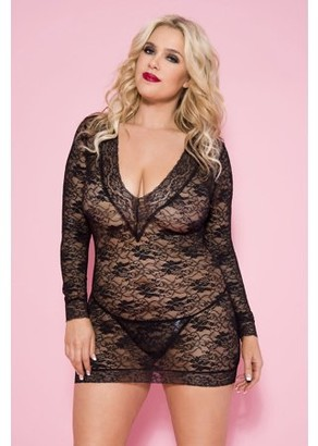 Music Legs Plus Size Long Sleeve Lace Chemise Set 60075Q-BLACK