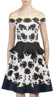Alexander McQueen Rose Off-The-Shoulder Peplum Top