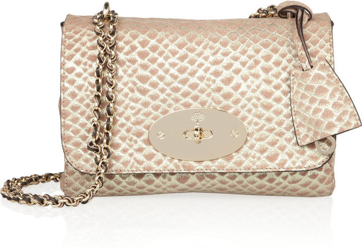 Mulberry Lily metallic snake-effect suede shoulder bag