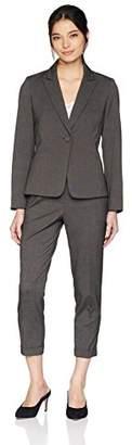 Tahari by Arthur S. Levine Women's Petite 1 Button Peak Lapel Cuffed Pant Suit