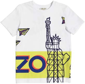 Kenzo Nyc Logo Printed Cotton Jersey T-Shirt