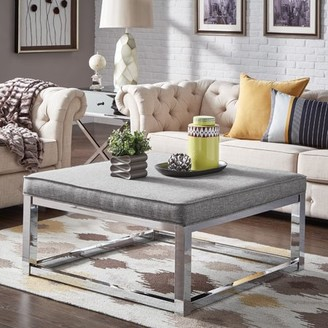 Weston Home Libby Smooth Top Cushion Ottoman Coffee Table with Chrome Metal Straight Base, Multiple Colors