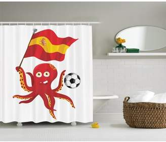 Ambesonne Funny Octopus Soccer Player Spain Flag European Footbal Shower Curtain with Hook