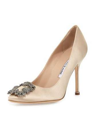 Manolo Blahnik Hangisi Crystal-Buckle Satin 105mm Pump, Champagne $965 thestylecure.com
