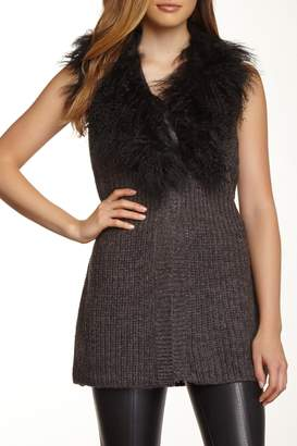 Blend of America Dolce Cabo Genuine Mongolian Lamb Fur Collar Wool Vest