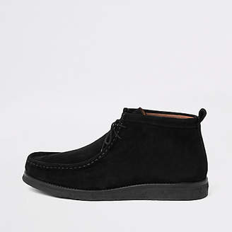 River Island Black suede lace up moccasin boot