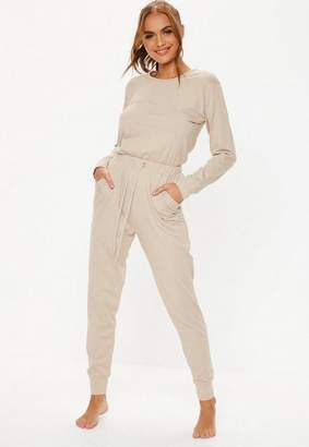 Missguided oatmeal casual loungewear Romper