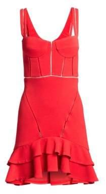 Jonathan Simkhai Crepe Combo Mini Ruffle A-Line Corset Dress