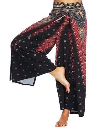 Changeshopping Pants Women Loose Yoga Baggy Boho Print Aladdin Harem Trousers