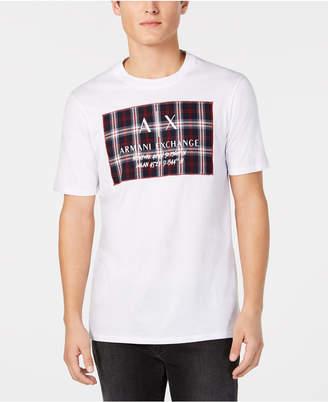 Armani Exchange Men Tartan Logo Patch T-Shirt