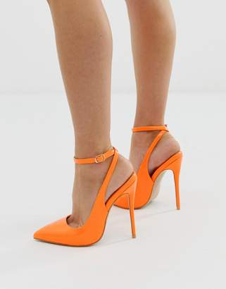 Simmi Shoes Simmi London Sure neon orange ankle strap pumps