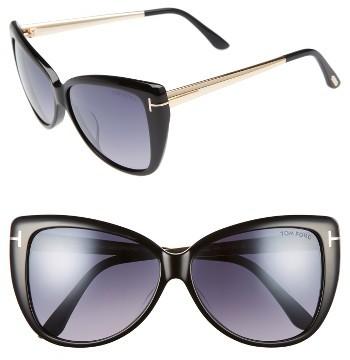 Women's Tom Ford Reveka 59Mm Gradient Cat Eye Sunglasess - Black/ Rose Gold/ Silver Flash