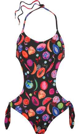 We Liming Cutout Printed Halterneck Swimsuit