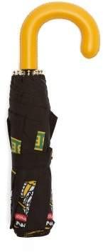 Burberry Trafalgar Leather Handle Umbrella - Womens - Black