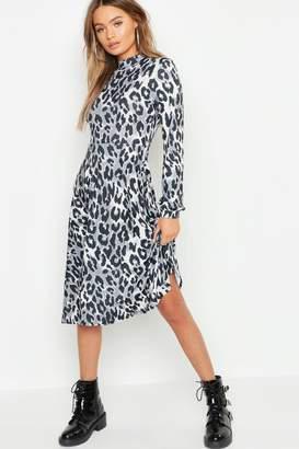 boohoo High Neck Leopard Print Midi Dress