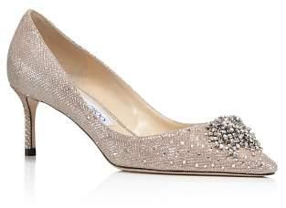 Jimmy Choo Women's Joan 60 Glitter Mesh & Leather Pointed Toe Mid Heel Pumps