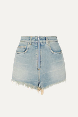 Givenchy Distressed Faded Stretch-denim Shorts - Blue