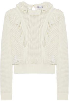 REDValentino - Ruffled Crocheted Cotton Sweater - Cream $520 thestylecure.com