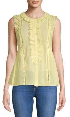 Max Studio Ruffle-Trimmed Cotton Top
