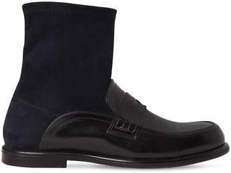 Loewe 20mm Suede & Leather Ankle Loafer Boots