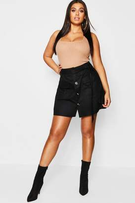 boohoo Plus Tie Horn Button Military Skirt