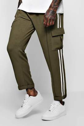 boohoo Smart Woven Cargo Trouser With Tape