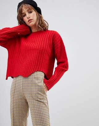 Wild Honey ribbed sweater with distressed hem