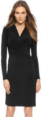 Norma Kamali Long Sleeve Side Draped Dress $96 thestylecure.com