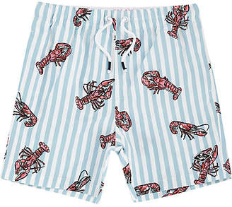 River Island Boys blue lobster print swim trunks
