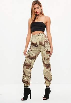 Missguided Premium Tan Camo Printed Cargo Pants