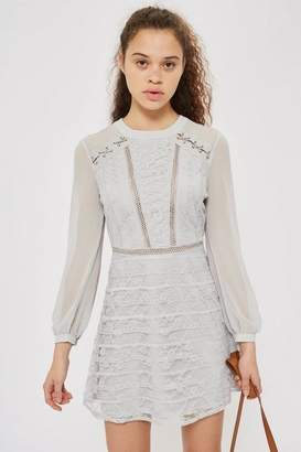Topshop Lace Up Shoulder Mini Dress