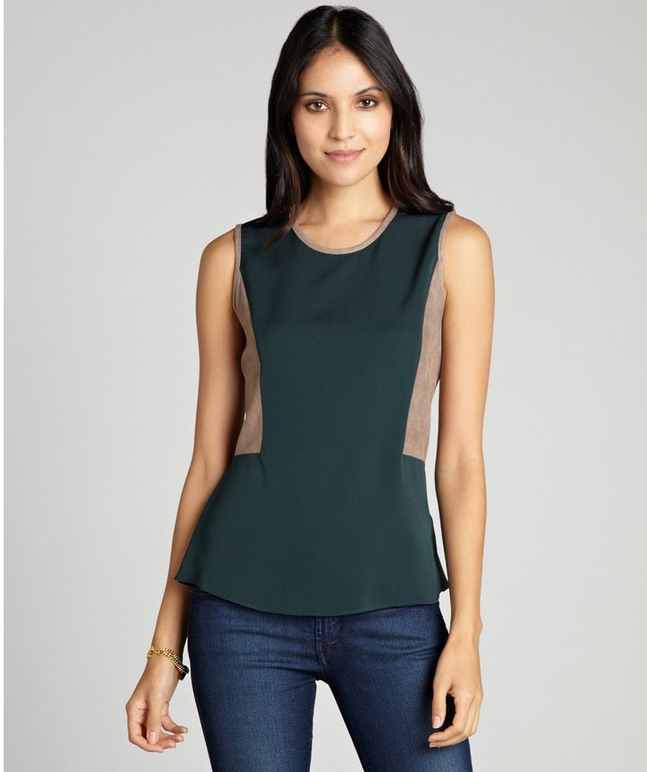 Wyatt forest and khaki silk and faux suede back zip 'Victoria' sleeveless top