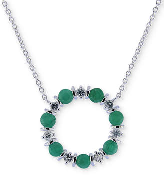 """Macy's Emerald (2 ct. t.w.) & White Sapphire (3/4 ct. t.w.) 16"""" Pendant Necklace in Sterling Silver"""