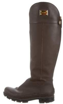 Dolce & Gabbana Leather Round-Toe Knee-High Boots