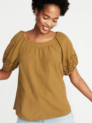 Old Navy High-Neck Cutwork-Sleeve Blouse for Women