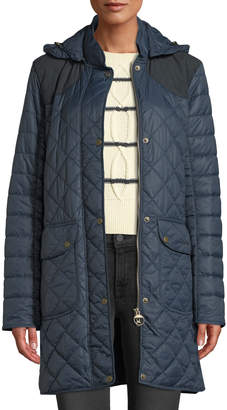 Barbour Greenfinch Box-Quilted Jacket w/ Detachable Hood