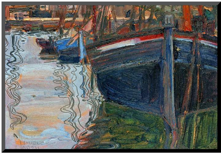 The Art Studio Boats Mirrored in the Water, 1908 by Egon Schiele (Mounted Print)