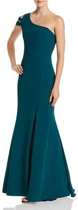 Avery G Double-Strap One-Shoulder Gown