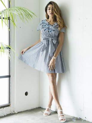 Million Carats (ミリオン カラッツ) - Million Carats ストライプ刺繍ワンピース[DRESS/ドレス] ミリオンカラッツ ワンピース