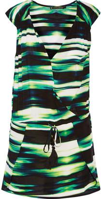 Vix Molly wrap-effect striped voile kaftan $146 thestylecure.com