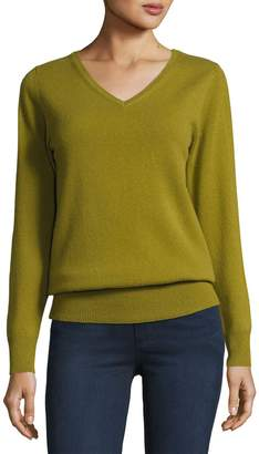 Neiman Marcus Relaxed V-Neck Cashmere Sweater, Plus Size