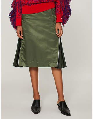 Sacai Side-zip pleat-detail skirt