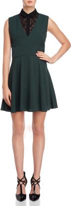 The Kooples Pique Crepe & Lace Fit & Flare Dress