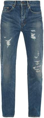 Saint Laurent Distressed relaxed-fit jeans